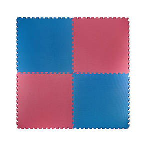 Мат-пазл (ластівчин хвіст) 4FIZJO Mat Puzzle EVA 100 x 100 x 4 см 4FJ0169 Blue/Red, фото 2