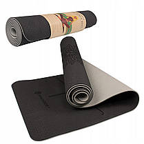 Килимок (мат) для йоги та фітнесу Springos TPE 6 мм YG0013 Black/Grey, фото 2