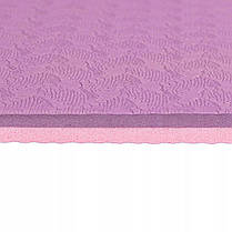 Килимок (мат) для йоги та фітнесу Springos TPE 6 мм YG0015 Purple/Pink, фото 3