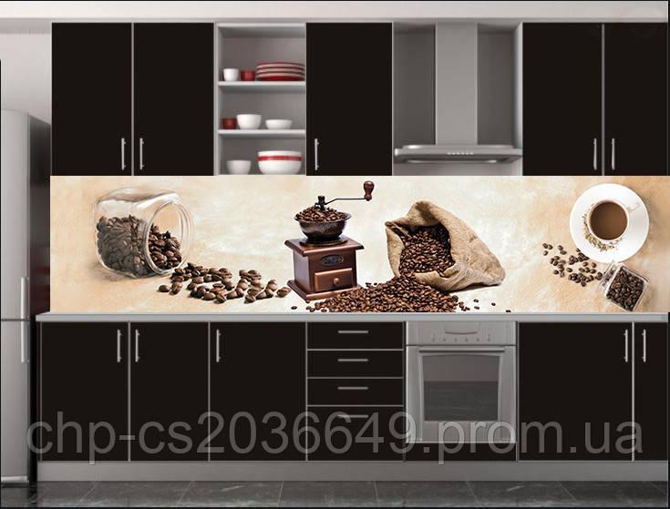 Стеклянный фартук для кухни - скинали Кофе в зернах, кофемолка