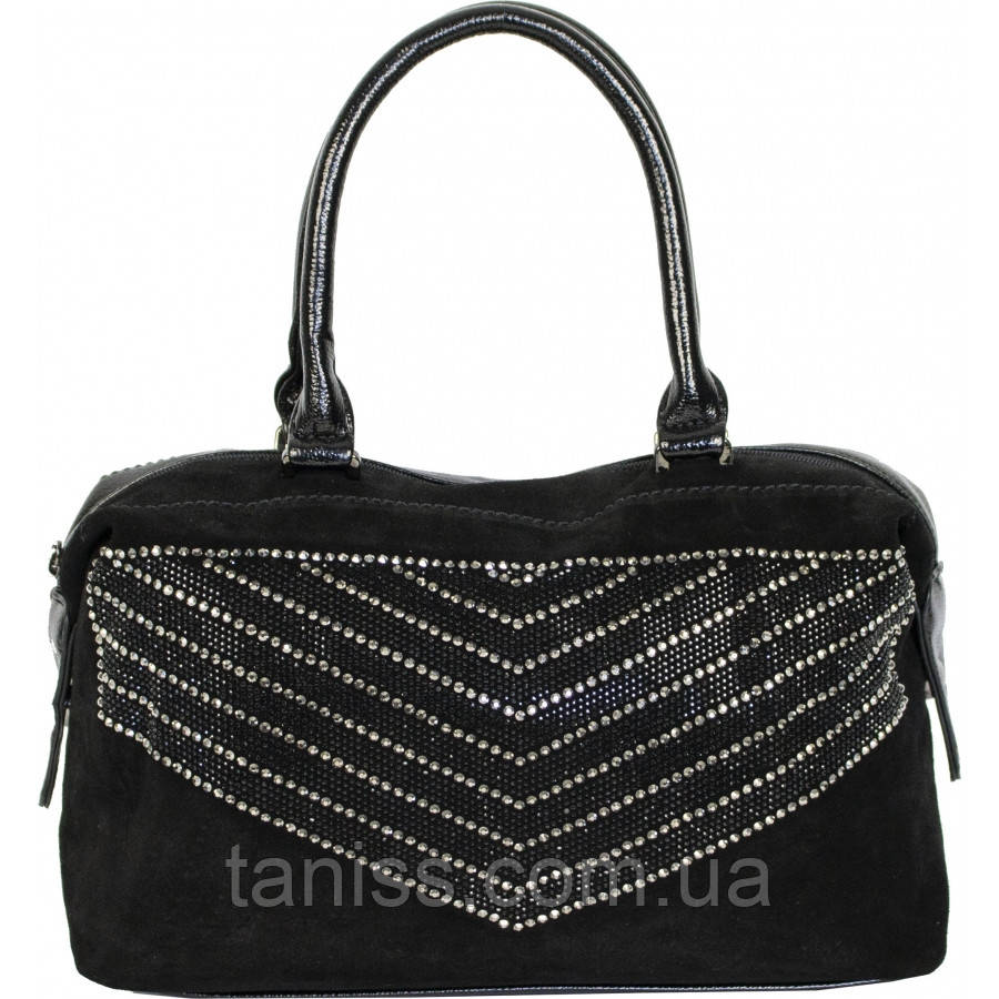 Стильна сумка жіноча , матеріал - екокожа і замш.2 короткі ручки,1 відділення(JK80042 ) чорний
