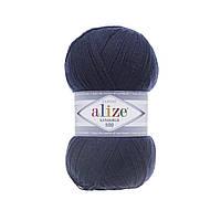 Турецкая зимняя пряжа Ализе ланаголд LANAGOLD 800 темно синего цвета 58