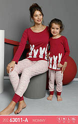 Комплект женской домашней одежды, демисезонный (футболка длинный рукав +штаны), рисунок Зайчик , Sexen