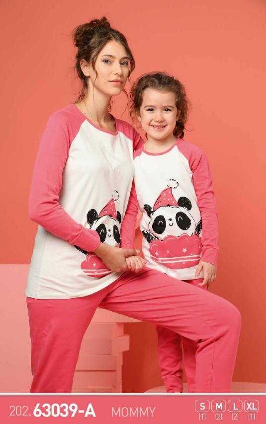Комплект женской домашней одежды, демисезонный (футболка длинный рукав +штаны), рисунок Панда , Sexen (размер