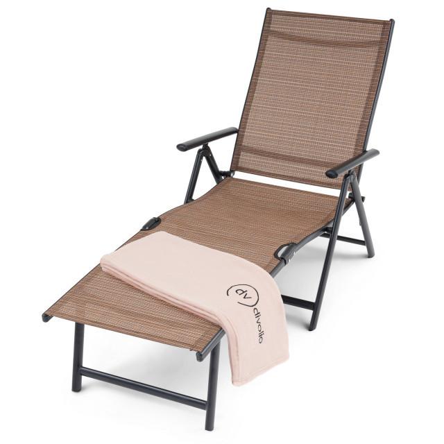 Садовий лежак з алюмінієвою рамою BOLZANO DV-006ASL - коричневий