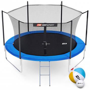 Батут Hop-Sport 10ft (305cm) синий с внутренней сеткой 3 ноги