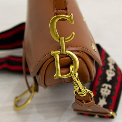 Женская стильная сумка-седло Christian Dior рыжего цвета, две ручки (арт. 1628), фото 2