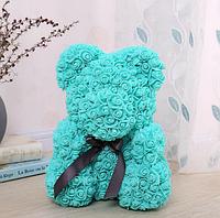Мишка из роз, высота 40см, в подарочной упаковке, подарок для девушки бирюзовый, фиолетовый