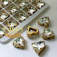 Сердце в золотой оправе, цвет Crystal , размер 12x13мм, 1шт