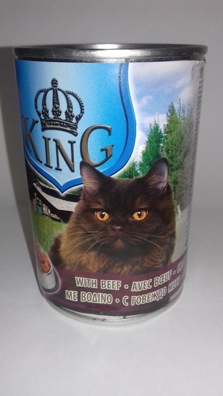 Влажный консервированный корм для взрослых кошек со вкусом Говядины 415 г PIKO PET FOOD King