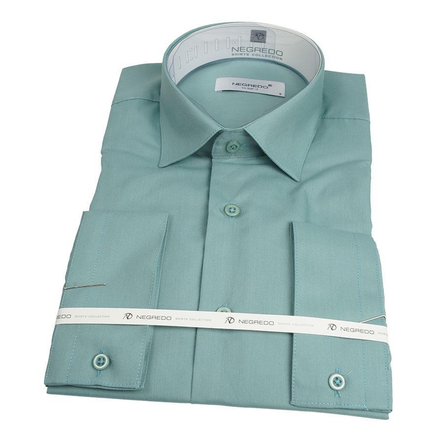 Однотонна чоловіча сорочка Negredo 010 # 31 Slim в темно-ментолові кольорі