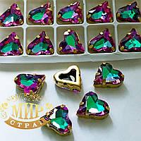 Сердце в золотой оправе, цвет Green Volcano , размер 12x13мм, 1шт