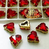 Сердце в золотой оправе, цвет Lt Siam , размер 12x13мм, 1шт