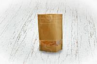 """Бумажный пакет """"Дой-пак"""" с замком ZIP 130х200 мм c окном, покрытием ПЕ внутри/250шт"""
