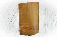 """Бумажный пакет """"Дой-пак"""" с замком ZIP 180х280 мм c окном, покрытием ПЕ внутри/250шт"""