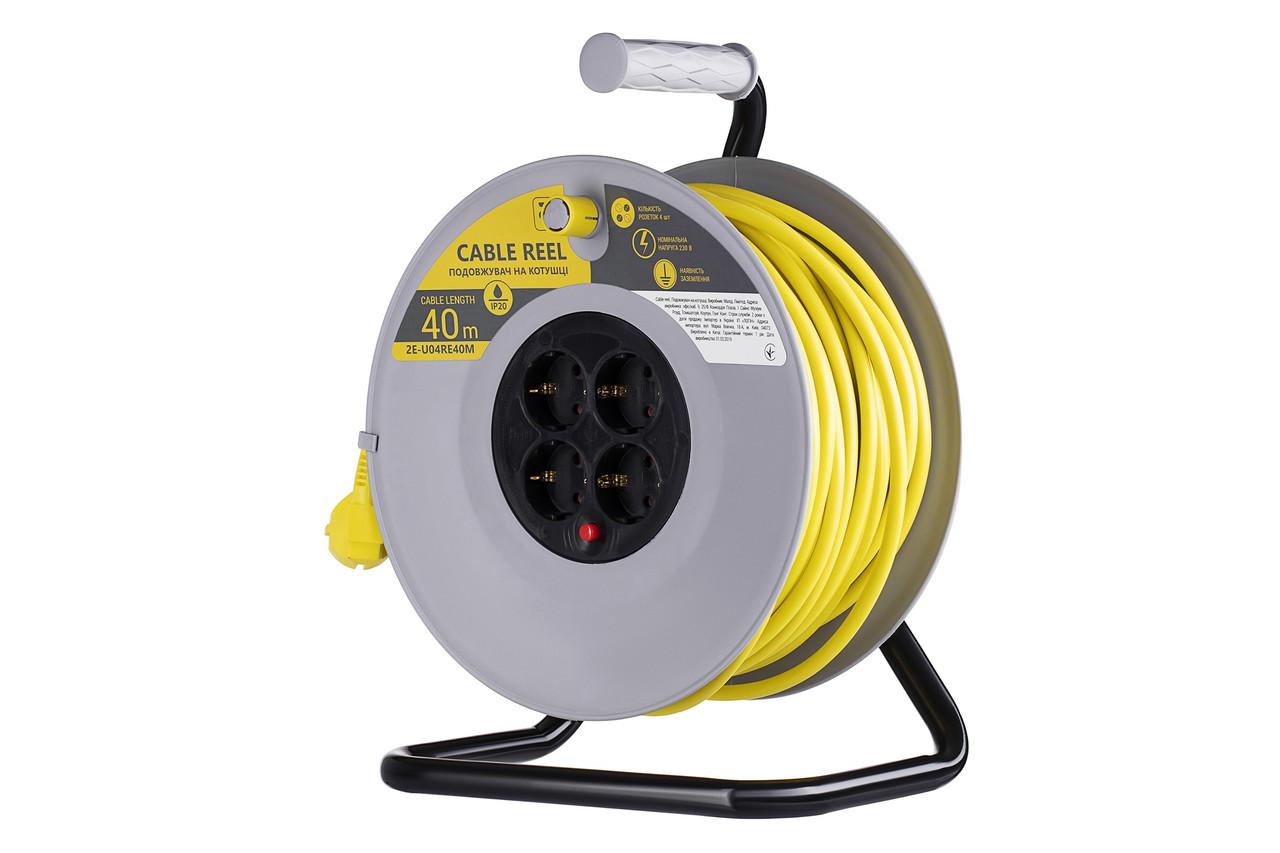 Мережевий подовжувач 2Е 4 розетки 40 м Із заземленням Сіро-жовтий