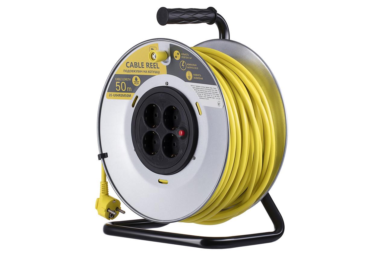 Мережевий подовжувач 2Е 4 розетки 50 м Із заземленням Сіро-жовтий