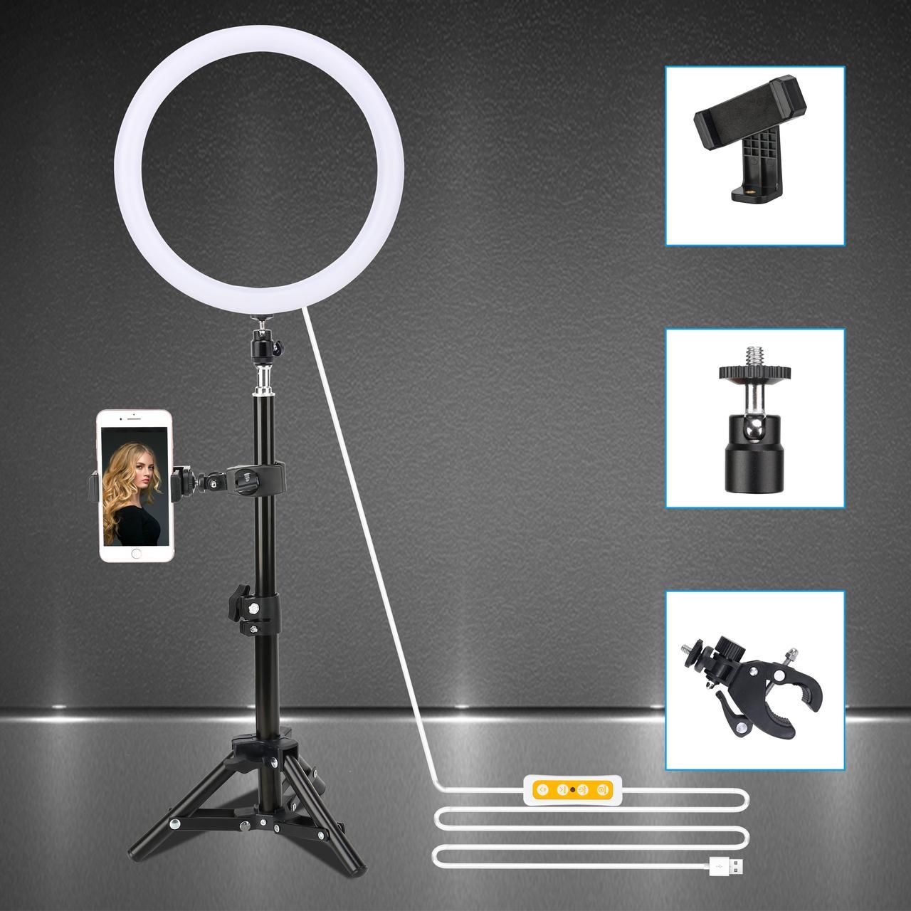 """Комплект кільцевої LED світло ZM100 (6"""" - 16см) + пульт + пульт для телефону + стійка 45 см + кріплення"""