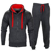 Костюм мужской спортивный тёмно-серого цвета с капюшоном и с красным подкладом One-Point