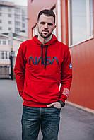 Мужская кофта худи красная с капюшоном Nasa