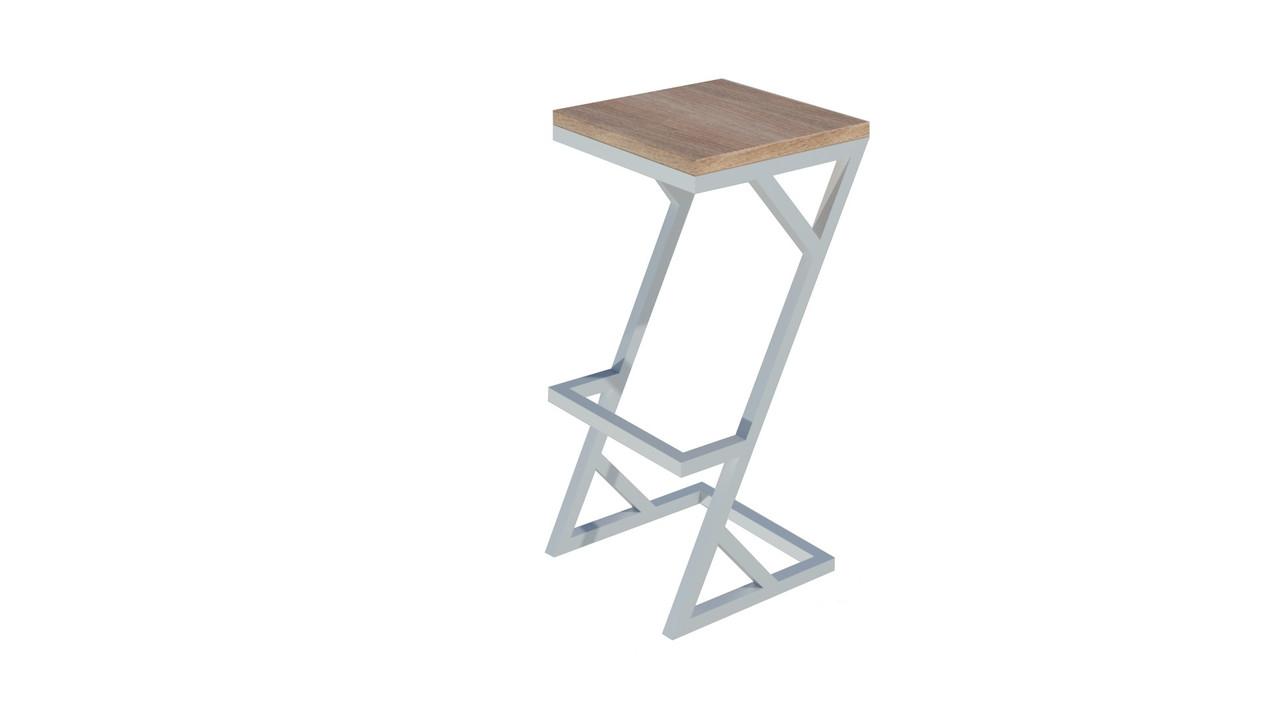 Квадратные стулья барные в стиле LOFT из белого металла и натурального дерева