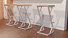 Квадратные стулья барные в стиле LOFT из белого металла и натурального дерева, фото 3