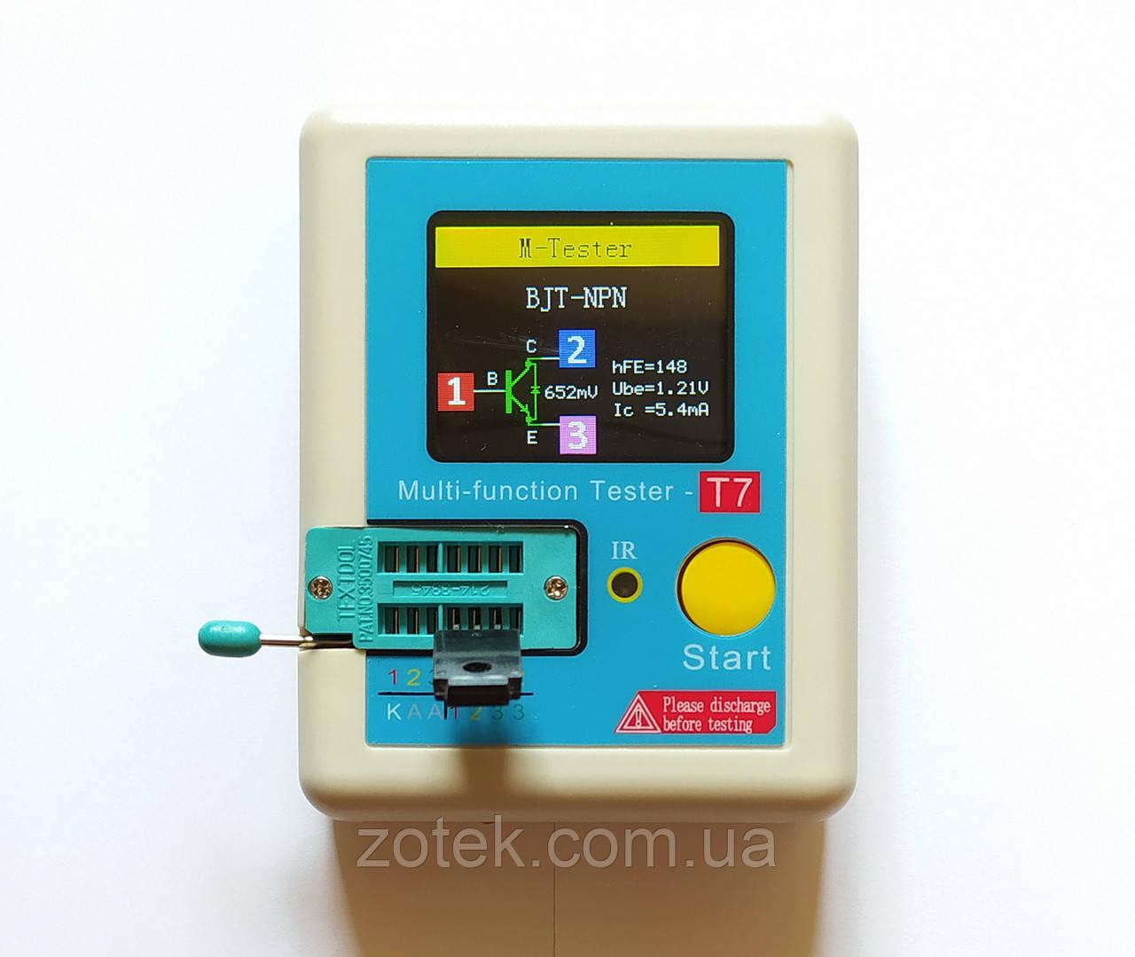 LCR-T7. Тестер электронных компонентов радиодеталей, транзисторов LCR ESR метр, транзистор тестер