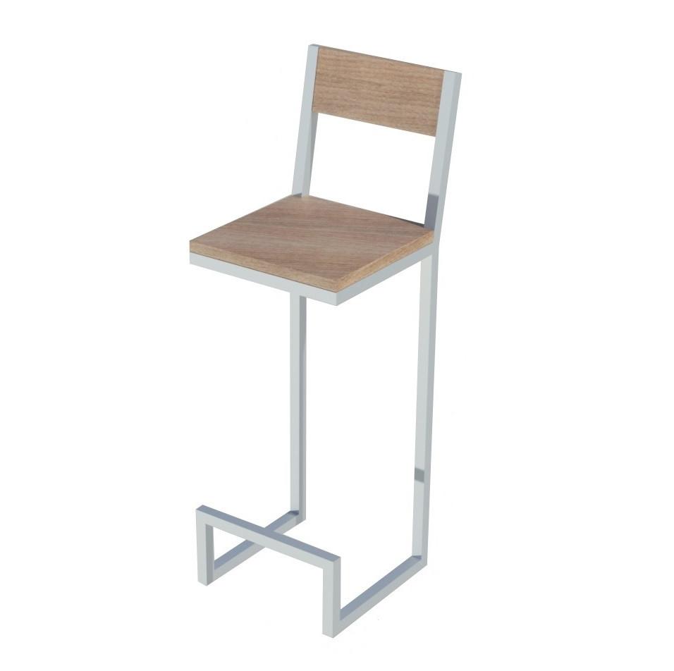 Белый барный стул со спинкой из металла и натурального дерева