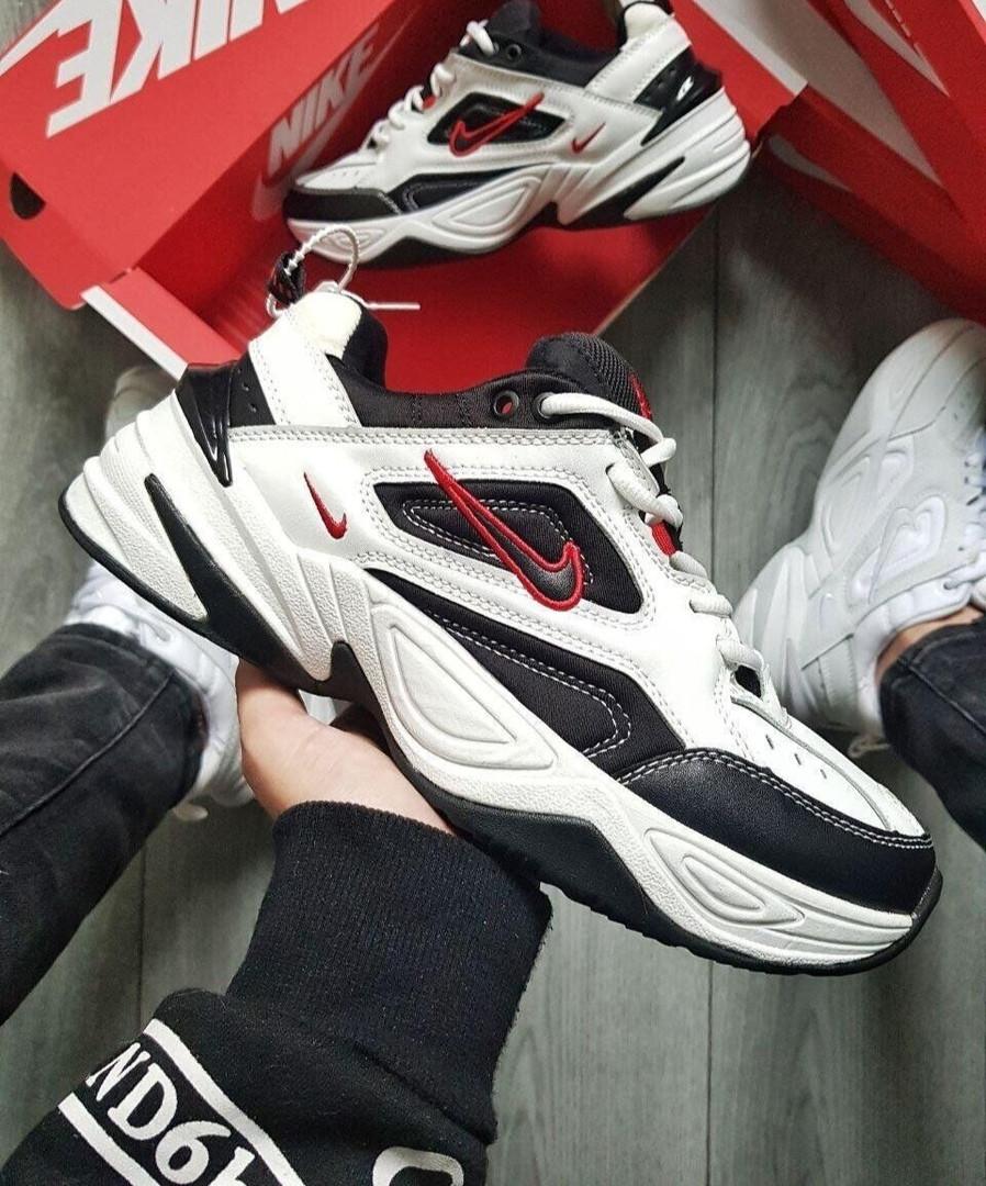 Мужские кроссовки Nike M2K Tekno White/Black/Red (бело/черные/красные) KS 1525