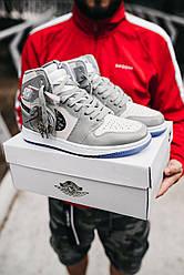Мужские кроссовки Nike Air JORDAN 1 RETRO HIGH DIOR (бело-серые)