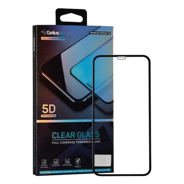 Захисне скло Apple iPhone XS Max 5D Pro Clear Glass (чорне) Gelius