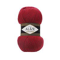 Турецкая зимняя пряжа Ализе ланаголд LANAGOLD красного цвета 56