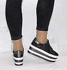 Женские кроссовки на платформе Криперы графитового цвета, фото 3