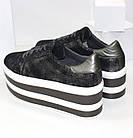 Женские кроссовки на платформе Криперы графитового цвета, фото 8