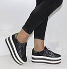 Женские кроссовки на платформе Криперы графитового цвета, фото 2