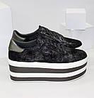 Женские кроссовки на платформе Криперы графитового цвета, фото 6