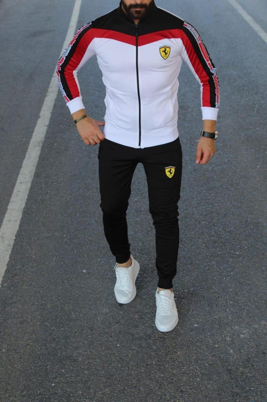 Мужской спортивный костюм Порш черно-белый