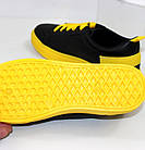 Женские черные кеды на высокой подошве желтого цвета, фото 10