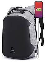 Молодежный мужской рюкзак серый с переходником для USB Grooc для студентов