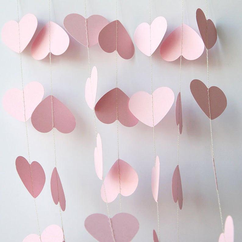Гирлянда бумажная Сердца Розовая