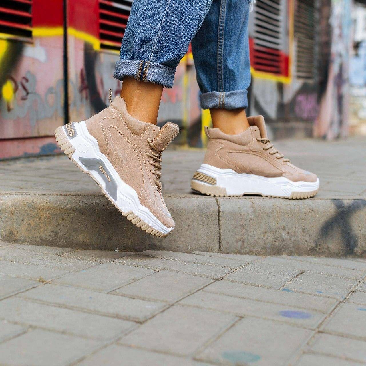 Женские высокие кроссовки на толстой подошве (Бежевые)