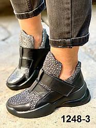 Ботинки женские кожаные черные на липучках спортивные