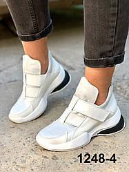 Черевики жіночі шкіряні білі на липучках спортивні