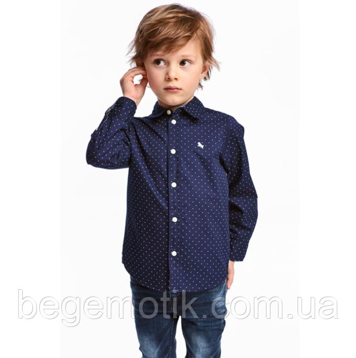 H&M Хлопковая Рубашка для мальчика Синий/Горошек 8-9 лет рост 128-134