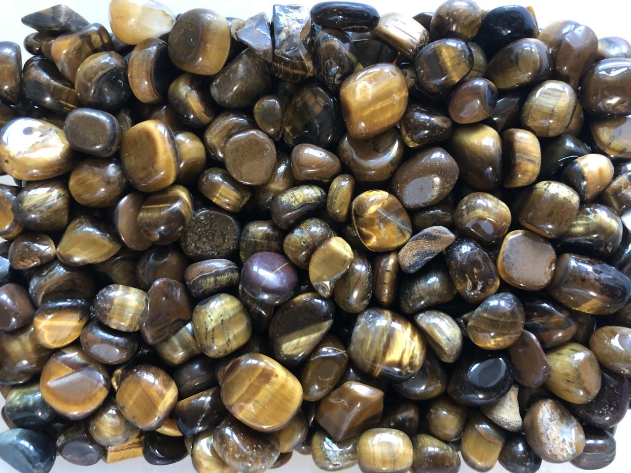 Натуральный камень крошка Тигровый глаз округленный +-10 мм (10 грамм). Камінь Око крихта натуральний