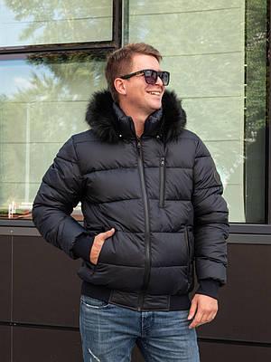 Мужские куртки зимние с мехом  56 темно-синий