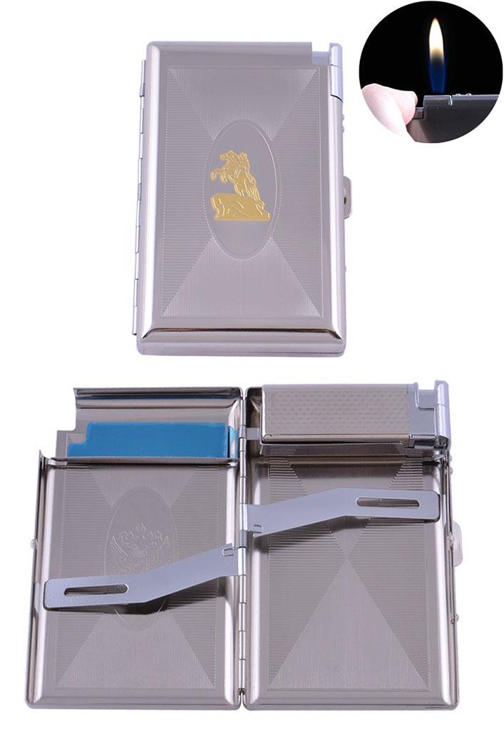 Портсигар + зажигалка на 16 сигарет Всадник (Обычное пламя) №XT-3304-2