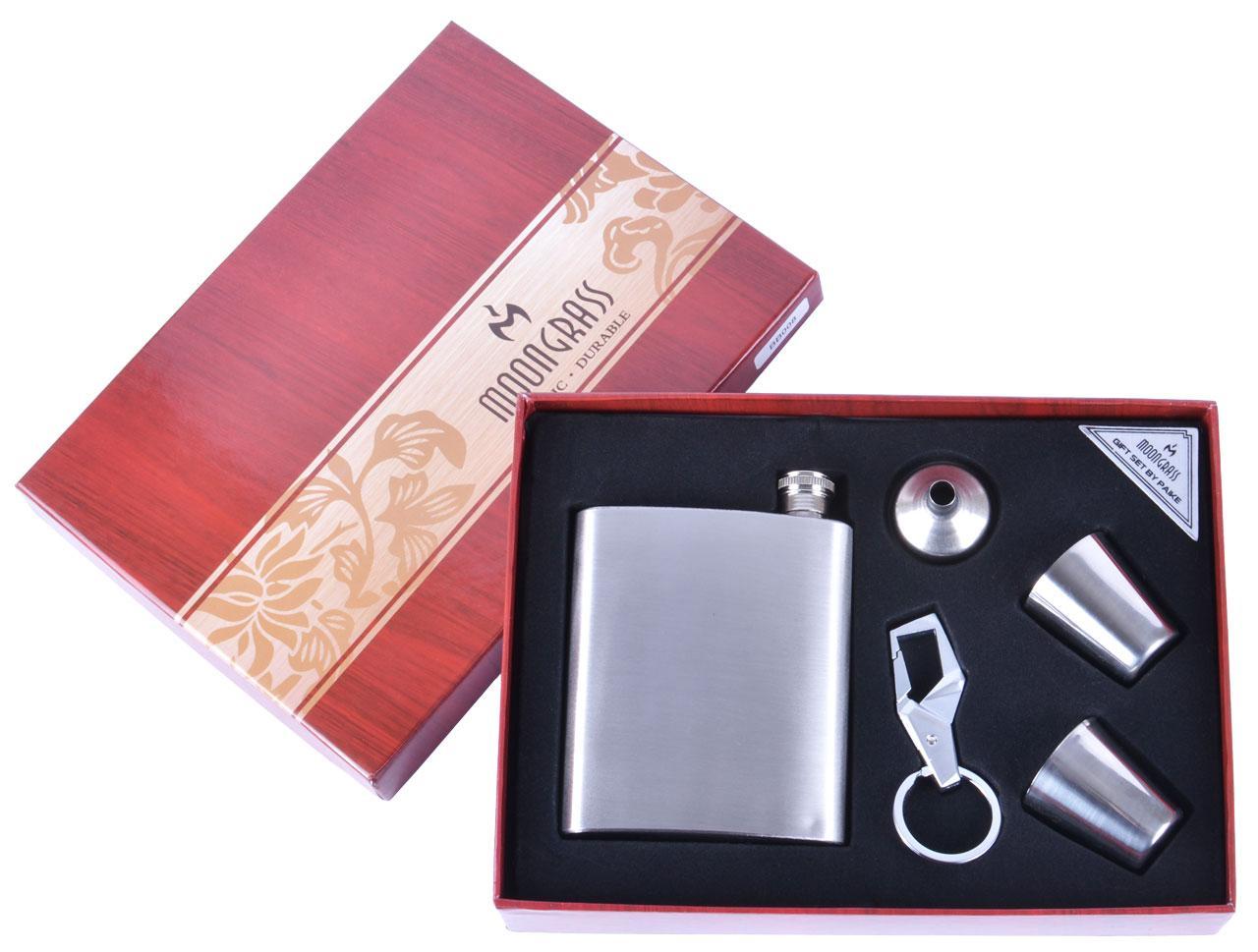 Подарочный набор 5в1 Moongrass Фляга/ Рюмки/ Брелок/ Лейка №BB-008