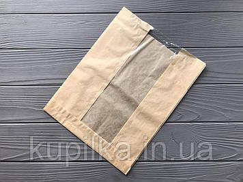 Бумажный пакет с прозрачной вставкой 300х220х50 124Ф