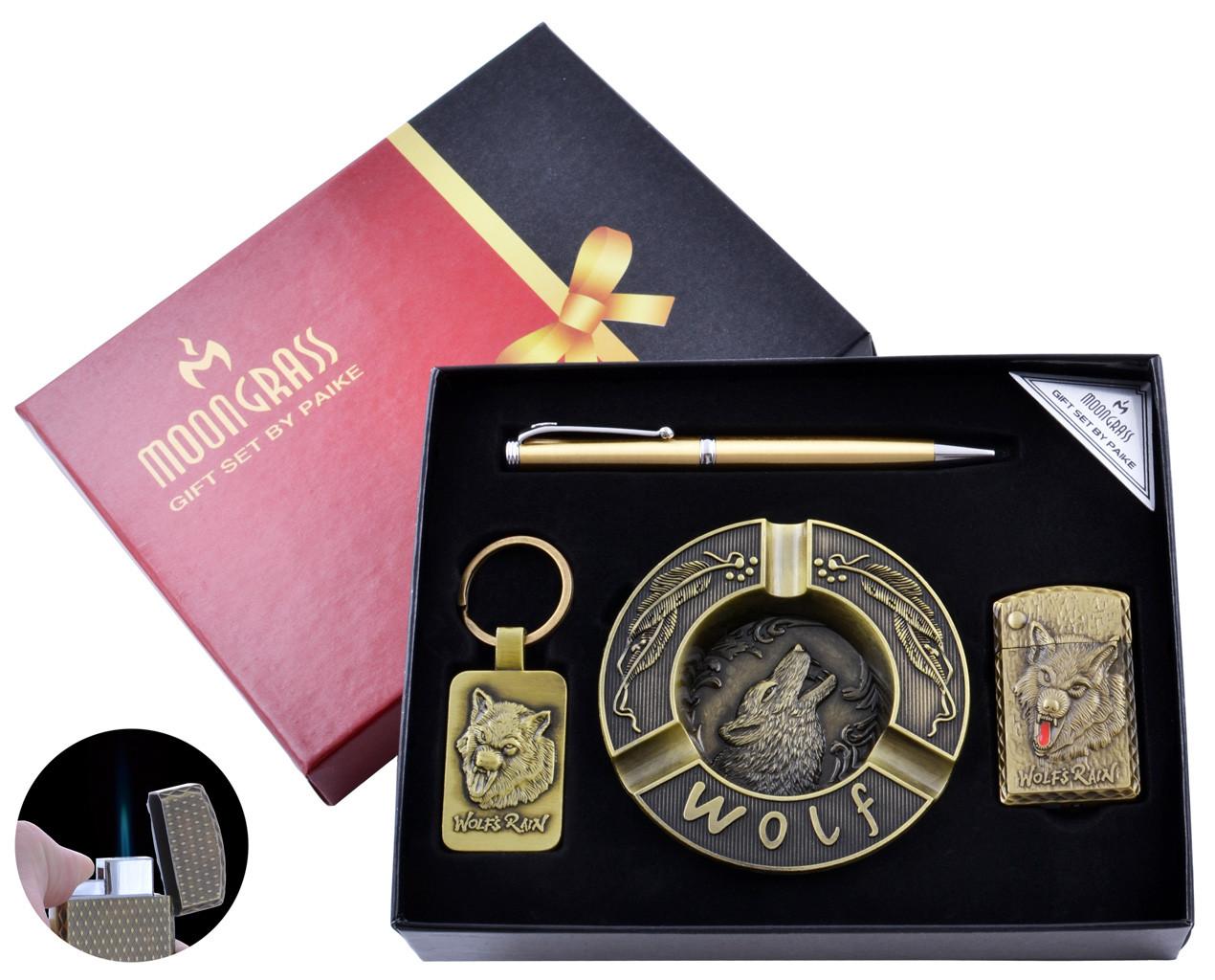 Подарочный набор с пепельницей Волк Зажигалка/Брелок/Ручка №YJ-6439